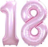 Folie Ballon Cijfer 18 Jaar Roze 86Cm Verjaardag Folieballon Met Rietje