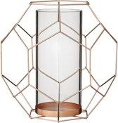 Bloomingville - Windlicht Graphic - Metaal/Glas Koper - B23xL20,5xH22,5 cm