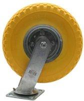zwenkwiel met gele anti-lek band 2.50-4. Pu zwenkwielen