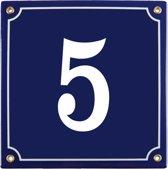 Emaille huisnummer blauw nr. 5