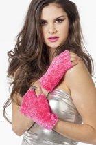 Vingerloze handschoenen pluche neon-pink