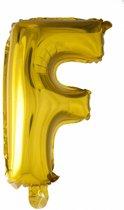 Folie Ballon Letter F Goud 41cm met rietje