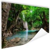 Erawan Waterval in jungle Thailand foto Poster 150x75 cm - Foto print op Poster (wanddecoratie woonkamer / slaapkamer)