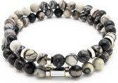 Armband heren - kralen - dubbel snoer - licht en donker grijs marmer met zilver RVS bedels - Sorprese - natuursteen - rond - elastisch - 8 mm - 20 cm - model E