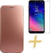Samsung Galaxy A6 (2018) Hoesje Lederen Wallet Book Case Cover Portemonnee Rose Goud + Screenprotector Gehard Glas - van iCall