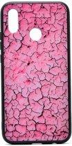 Teleplus Huawei P Smart 2019 Pane Marble Patterned Case Pink + Nano Screen Protector hoesje
