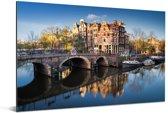 De Prinsengracht tijdens zonsopgang Aluminium 60x40 cm - Foto print op Aluminium (metaal wanddecoratie)
