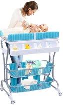 Babybad en commode in 1 – Mobiele Verzorgingstafel Op Wielen - Baby Aankleedtafel Badmeubel Aankleedkussen - Blauw