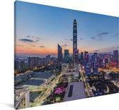 Skyline van Shenzhen Canvas 90x60 cm - Foto print op Canvas schilderij (Wanddecoratie woonkamer / slaapkamer) / Aziatische steden Canvas Schilderijen