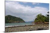 Het Nationaal park Meru Betiri onder een prachtig wolkenveld in Indonesië Aluminium 90x60 cm - Foto print op Aluminium (metaal wanddecoratie)