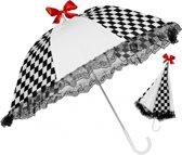 Zwart wit geblokte paraplu