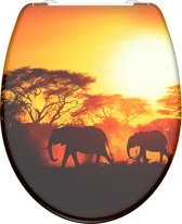SCHÜTTE WC-Bril 82360 AFRICA - Duroplast - Soft Close - Afklikbaar - RVS-Scharnieren - Decor - 3-zijdige Print
