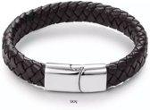 SKAJ Armband Mannen - Leer - Vlecht - 20.5 CM - RVS Schuifsluiting - Bruin