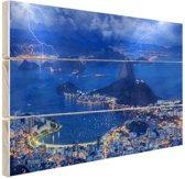 Onweer in Rio de Janeiro Hout 60x40 cm - Foto print op Hout (Wanddecoratie)