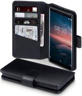 Qubits - luxe echt lederen wallet hoes - Nokia 8 Sirocco - zwart