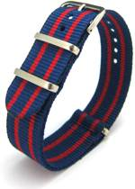 Premium Blue Red - Nato strap 20mm - Stripe - Horlogeband Blauw Rood + luxe pouch
