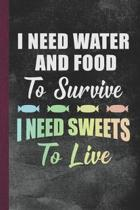 I Need Water and Food to Survive I Need Sweets to Live