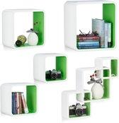 relaxdays 5-delige wandbox set - wandboard - keukenrek - wandplank - wit-groen