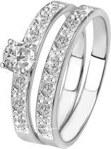Lucardi Zilveren Dubbele Ring - Met Zirkonia - Maat 60