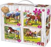 Paarden 4 in 1 Puzzel - Vier Kinderpuzzels in een Koffertje