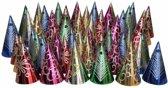 Gekleurde punthoedjes glitter feest 50 stuks - feesthoedjes