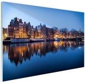 Zonsopgang grachten Amsterdam Glas 180x120 cm - Foto print op Glas (Plexiglas wanddecoratie) XXL / Groot formaat!