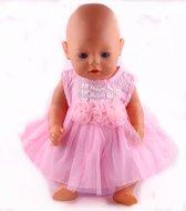 Poppenkleertjes jurk, roze/wit gestreept