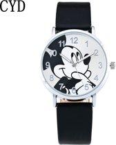Hidzo Horloge Mickey Mouse ø 37 mm - Zwart - Kunstleer