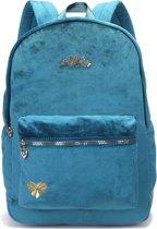 Rugtas/rugzak petrol blauw/groen fluweel/velvet - Schooltas - Back to School