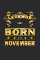 Legends Are Born In November: Notizbuch, Notizheft, Notizblock - Geburtstag Geschenk-Idee f�r Legenden - Karo - A5 - 120 Seiten