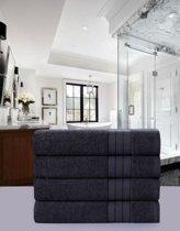 Luxe Katoen Handdoek Antraciet | 50x100 | Set van 4 | Met Een Geweven Bies