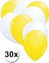 Ballonnen Geel & Wit 30 stuks 27 cm