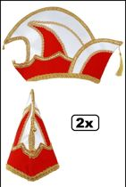 2x Luxe Prinsenmuts rood/wit maat 63