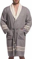 Gevoerde Hamam Badjas Nijl Dark Grey -  Hamam badjas - badstof - sauna badjas - duster - ochtendjas - sjaalkraag - unisex - dames heren - maat M