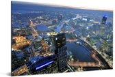 Schitterende luchtfoto van de miljoenenstad Melbourne in Australië Aluminium 180x120 cm - Foto print op Aluminium (metaal wanddecoratie) XXL / Groot formaat!