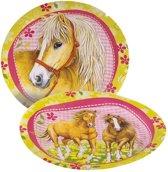 8 paarden bordjes - Feestdecoratievoorwerp