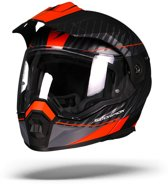 Scorpion ADX-1 Dual Mat Zwart Zilver Oranje Systeemhelm - Motorhelm - Maat S