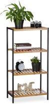 relaxdays boekenrek bamboe 4 etages - universeel opbergrek - badkamerrek - keukenrek hout