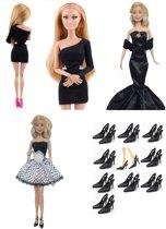 Barbiekleding – 3 glamour jurken voor modepoppen – poppenkleding – Barbiepoppen + Gratis 10 paar zwarte hoge hakken - Barbie