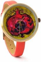 """""""BiggDesign Granaatappel Leren Pols Horloge , roestvrij staal achterkant , Speciaal Ontwerp Pols Horloge """""""