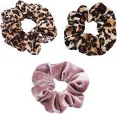 Scrunchie 3 stuks Velvet Extra Vol en Luxe - haarelastiek haarwokkel scrunchies - oudroze - panterprint bruin/zwart - panterprint bruintinten- Kraagjeskopen.nl