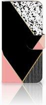 Bookcase Samsung Galaxy A40 Zwart Roze Vormen