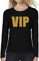 VIP goud glitter tekst t-shirt long sleeve zwart voor dames- zwart VIPshirt met lange mouwen voor dames 2XL