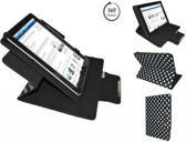 Aoc Breeze Tablet Mw1031 3g Diamond Class Polkadot Hoes met 360 graden Multi-stand, Zwart, merk i12Cover