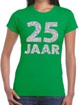 25 jaar zilver glitter verjaardag t-shirt groen dames - verjaardag / jubileum shirts XL