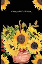 Lined Journal Notebook: Floral Design Paperback Sunflowers In A Pot With Contemporary Black Background