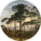 Behangcirkel - Hendrik Voogd - Italiaans Landschap met Parasoldennen - Ø 150 cm. Vliesbehang 200 grams A-Kwaliteit. Art. BC004