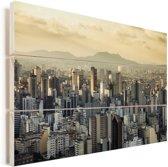 De zon komt op in het zuidwesten van het Braziliaanse São Paulo Vurenhout met planken 120x80 cm - Foto print op Hout (Wanddecoratie)