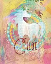 Chloe: Colorful Rainbow Unicorn - 100 Pages 8''X10'' Girl's Composition Wide Ruled Notebook