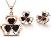 Fashionidea - Mooie goudkleurige ketting met passende oorbellen de  Lucky Golden Set Black